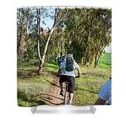 Leisure Cross Contry Cyclists Shower Curtain