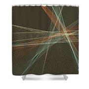 Lemans Computer Graphic Line Pattern Shower Curtain