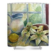 Lemon And Lillies Shower Curtain