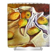 Lemons And Linen Shower Curtain