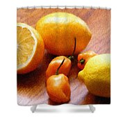 Lemons And Peppers Shower Curtain