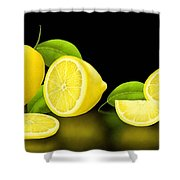 Lemons-black Shower Curtain