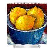 Lemons In A Blue Bowl Grace Venditti Montreal Art Shower Curtain