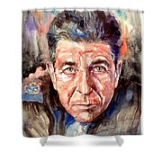 Leonard Cohen Painting Shower Curtain