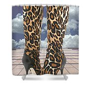 Leopard Boots With Ankle Straps Shower Curtain