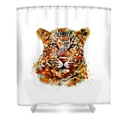 Leopard Head Watercolor Shower Curtain