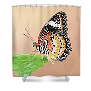 Leopard Lacewing Butterfly #2 V2 Shower Curtain