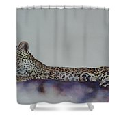 Leopard On Rock Shower Curtain