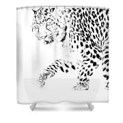 Leopard Spots Black And White Shower Curtain