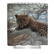 Leopard Tree Hugger Photo Collage Shower Curtain