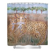 Leopard With Cub Shower Curtain