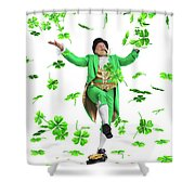 Leprechaun Tossing Shamrock Leaves Up In The Air Shower Curtain by Oleksiy Maksymenko