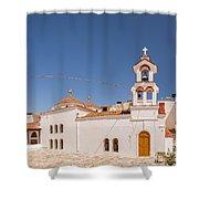 Lerapetra Church Square Pano Shower Curtain