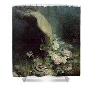 Les Fleurs Du Sommeil Shower Curtain by Achille Theodore Cesbron