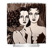 Les Vamperes In Sepia Tone Shower Curtain