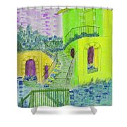 Let Them Eat Cake Multicolor Yellow Shower Curtain