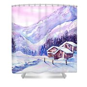 Swiss Mountain Cabins In Snow Shower Curtain