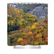 Letchworth Falls Sp Fall Colored Gorge Shower Curtain