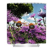 Two Bumblebees Discover The World Shower Curtain