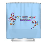 Let's Make Music - Blue Shower Curtain