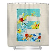 Letter E - Roman Alphabet - A Floral Expression, Typography Art Shower Curtain