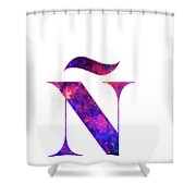 Letter Galaxy In White Background Shower Curtain