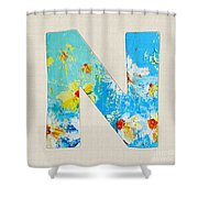 Letter N Roman Alphabet - A Floral Expression, Typography Art Shower Curtain
