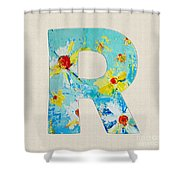 Letter R Roman Alphabet - A Floral Expression, Typography Art Shower Curtain