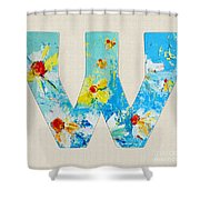 Letter W Alphabet A Floral Expression Shower Curtain