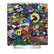 Letters And Numbers Shower Curtain