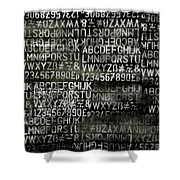Letters And Numbers Grey On Black Shower Curtain