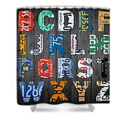 Letters Of The Alphabet Recycled Vintage License Plate Art With Apple Colorful School Nursery Kids Room Print Shower Curtain