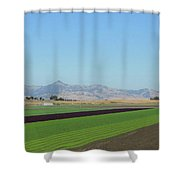Lettuce And Mountains With Bird Shower Curtain