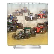 Lewis Hamilton Leads The Pack Shower Curtain