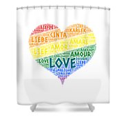 Lgbt Rainbow Hearth Flag Illustrated With Love Word Of Different Languages Shower Curtain