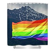 Lgbtq Rainbow Flag With Snowy Mountain Background View Shower Curtain