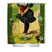 Libbys Bookmark Vintage With Girl On Beach Shower Curtain