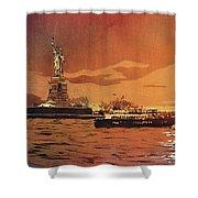 Liberty Island- New York Shower Curtain