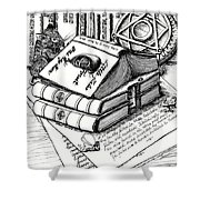 Library Book Fairy House Shower Curtain