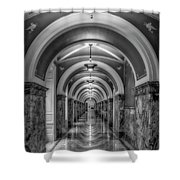 Library Of Congress Building Hallway Bw Shower Curtain