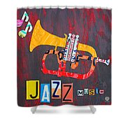 License Plate Art Jazz Series Number One Trumpet Shower Curtain