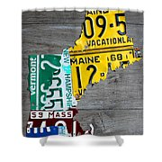 License Plate Map Of New England States Shower Curtain