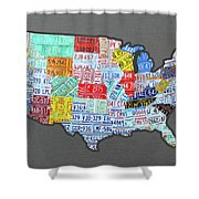 License Plate Map Of The United States Edition 2016 On Steel Background Shower Curtain