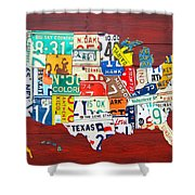License Plate Map Of The United States - Midsize Shower Curtain