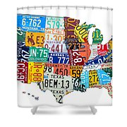 License Plate Map Of The United States Outlined Shower Curtain by Design Turnpike
