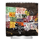 License Plate Map Of The United States - Warm Colors / Black Edition Shower Curtain