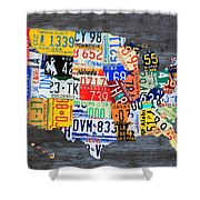 License Plate Map Of The Usa On Gray Distressed Wood Boards Shower Curtain