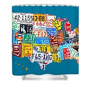 License Plate Map Of The Usa On Royal Blue Shower Curtain