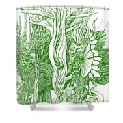 Life Force  - Green Shower Curtain