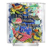 Life Is Fragile Patchwork Shower Curtain